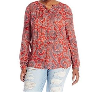 Lucky Brand Pleated Paisley BoHo Peasant Top L